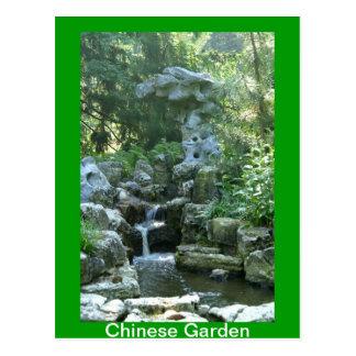 Cascada china del jardín tarjetas postales