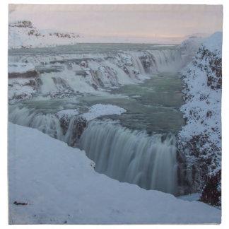 Cascada de Gullfoss en Islandia Servilletas Imprimidas