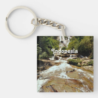 Cascada de Indonesia Llavero Cuadrado Acrílico A Una Cara