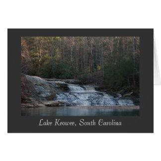 Cascada de Keowee del lago (título) Felicitacion