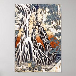 Cascada de Kirifuri en el soporte Kurokami en Póster