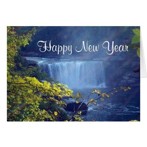 Cascada de la Feliz Año Nuevo Tarjeta De Felicitación