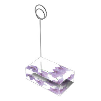 Cascada de las orquídeas púrpuras que casan produc soporte de tarjeta de mesa