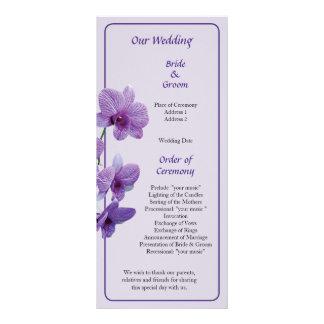 Cascada de las orquídeas púrpuras que casan progra diseño de tarjeta publicitaria