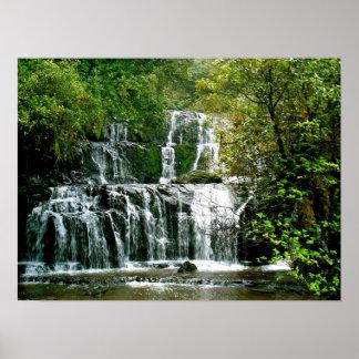 Cascada de Nueva Zelanda - caídas de Purakaunui Póster