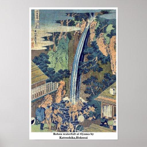 Cascada de Roben en Oyama por Katsushika, Hokusai Impresiones