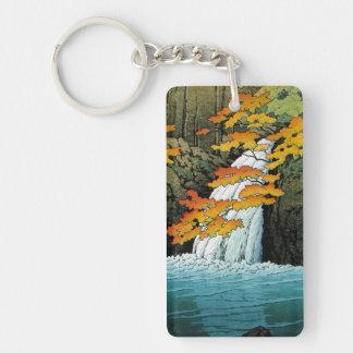 Cascada de Senju, Akame. Waterscape de Hasui Kawas Llavero Rectangular Acrílico A Doble Cara