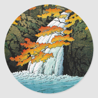 Cascada de Senju, Akame. Waterscape de Hasui Pegatina Redonda
