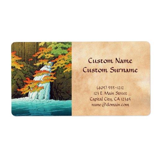 Cascada de Senju, arte del hanga de la espinilla d Etiqueta De Envío