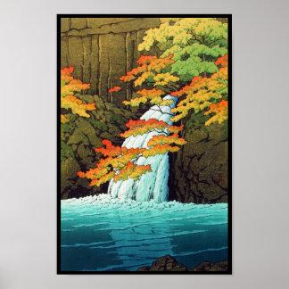 Cascada de Senju, arte del hanga de la espinilla d Posters