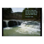 Cascada del 13:20 de los proverbios tarjeta de felicitación
