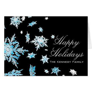 Cascada del copo de nieve tarjeta de felicitación