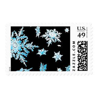 Cascada del copo de nieve timbres postales