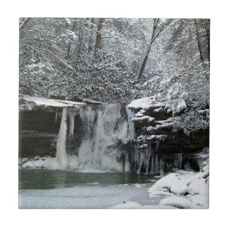 Cascada del invierno Nevado Azulejo Cuadrado Pequeño