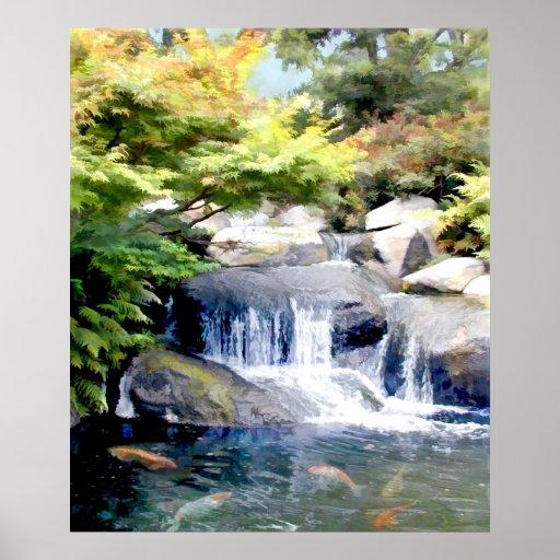 Cascada del jardín con la charca de Koi Póster