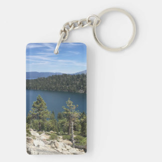 Cascada del lago en el lago Tahoe del sur Llavero Rectangular Acrílico A Doble Cara