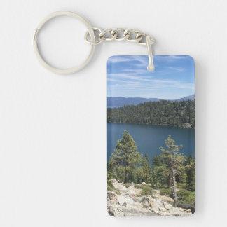 Cascada del lago en el lago Tahoe del sur Llavero Rectangular Acrílico A Una Cara