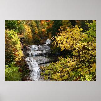 Cascada del otoño póster