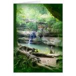 Cascada en el bosque del estado de Hocking de la c Tarjeton