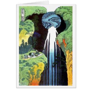 Cascada en el camino de Kisokaido, Hokusai de Amid Felicitaciones