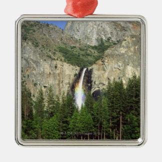 Cascada en el parque nacional de Yosemite, Adorno Navideño Cuadrado De Metal