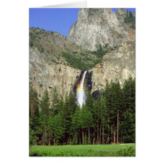 Cascada en el parque nacional de Yosemite, Califor Tarjeta De Felicitación