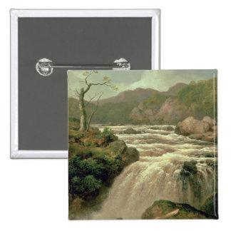 Cascada en el río Neath, el Sur de Gales Pin Cuadrada 5 Cm