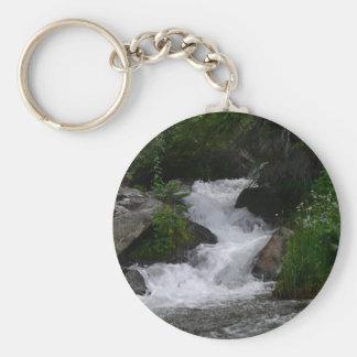 Cascada en Parque Nacional de las Montañas Rocosas Llavero Redondo Tipo Pin