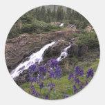 Cascada gemela y flores púrpuras etiquetas
