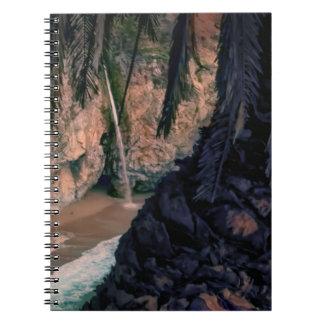 Cascada grande de Sur, en el cuaderno espiral de