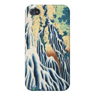 Cascada japonesa fresca de Hokusai del ukiyo-e del iPhone 4 Protectores