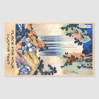 Cascada japonesa fresca Hokusai del ukiyo-e del Pegatina Rectangular