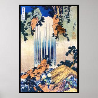 Cascada japonesa fresca Hokusai del ukiyo-e del vi Póster