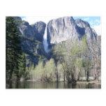 Cascada majestuosa en el parque de Yosemite Tarjetas Postales