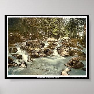 Cascada presagiada, Braunlage, Hartz, Alemania Póster