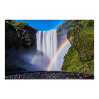 Cascada y arco iris póster