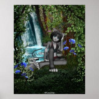 Cascadas 2 del gatito del animado de Cutie Póster