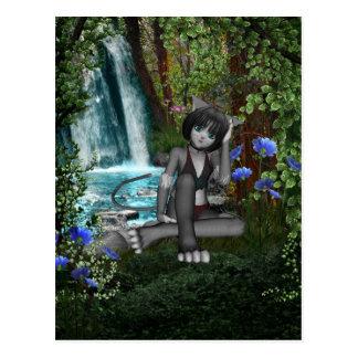 Cascadas 2 del gatito del animado tarjetas postales