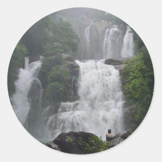 Cascadas de Costa Rica Pegatina Redonda