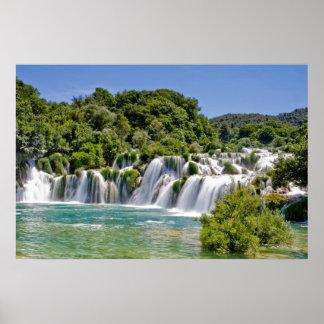 Cascadas del parque nacional de Krka en Croacia Eu Póster