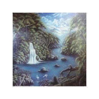 Cascadas y selva lienzo envuelto para galerias