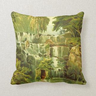 Cascade at Virginaia Water Throw Pillow