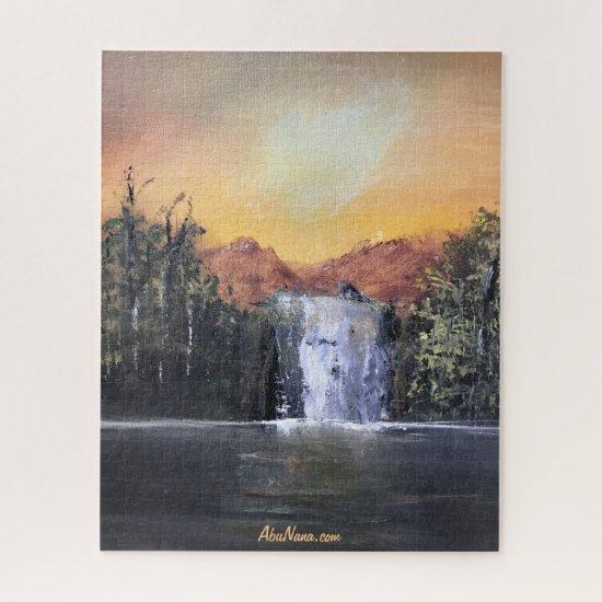 Cascade Backyard Waterfall Painting Jigsaw Puzzle