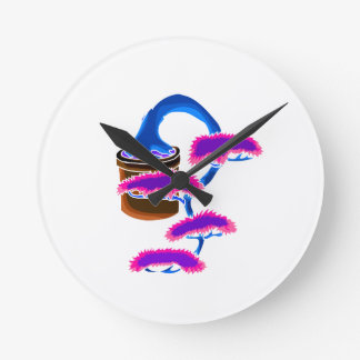 cascade bonsai graphic blue round wallclocks