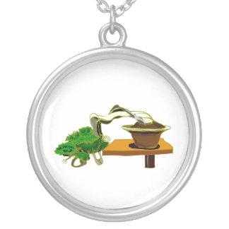 Cascade Bonsai Left Side Graphic Design Round Pendant Necklace