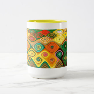 Cascade Cool Abstract Fine Art Fractal Two-Tone Coffee Mug