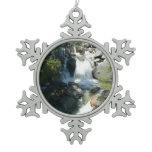 Cascade Falls at Yosemite National Park Snowflake Pewter Christmas Ornament