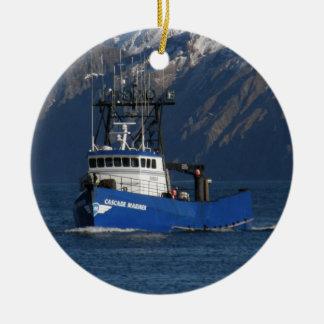 Cascade Mariner, Crab Boat in Dutch Harbor, AK Ceramic Ornament