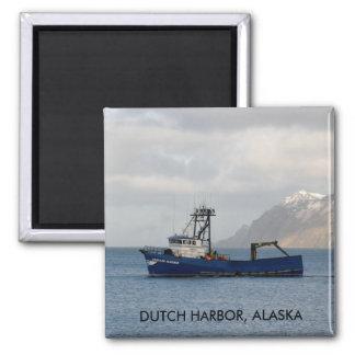 Cascade Mariner, Crab Boat in Dutch Harbor, AK 2 Inch Square Magnet