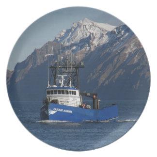 Cascade Mariner, Crab Fishing Boat in Dutch Harbor Melamine Plate